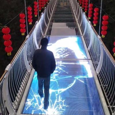 LED玻璃栈道特效屏G3.91室内款网红玻璃桥制作厂家施工单位